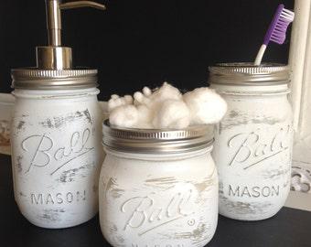 "White ""Shabby Chic"" Mason Jar Bathroom Set"