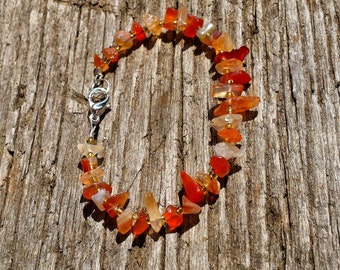 Genuine Variegated Orange Carnelian Bracelet, Gemstone Jewelry, Carnelian Bracelet, Carnelian Jewelry, Tribal Bracelet