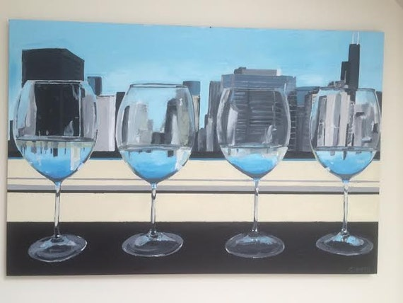 Chicago skyline original acrylic painting window by for Acrylic paint on wine glasses