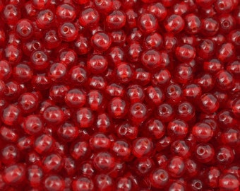 120 pc 4mm Siam Ruby Czech glass beads