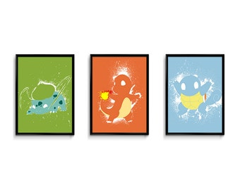 "Pokemon inspired 24""x18"" splatter poster bundle | videogame art | geekery art | Wall Art Decor | Minimalist Poster | dorm room decor"