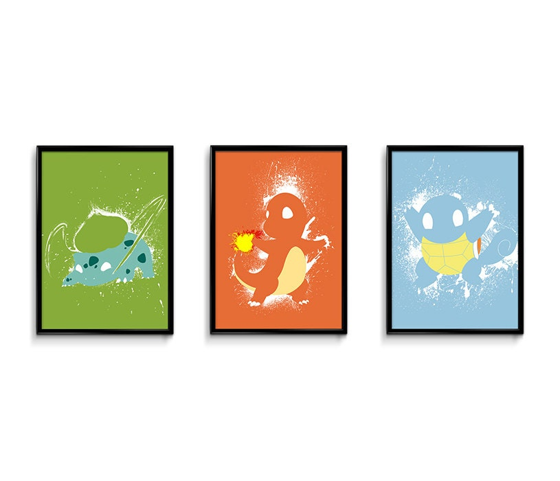 Pokemon Inspired 24 X18 Splatter Poster Bundle Videogame Art Geekery Art