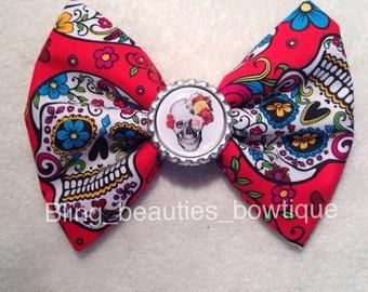 SALE Dia de Los muertos skull bow