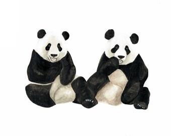 Orignial painting Two Pandas watercolour - A4