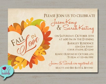 Fall Engagement Party, Fall Wedding, Couple's Bridal Shower, Invitation - PRINTABLE DIGITAL FILE - 5x7