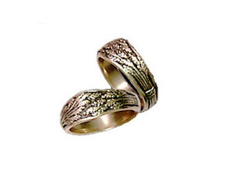 14k Wheat Sheaf Wedding Ring Set