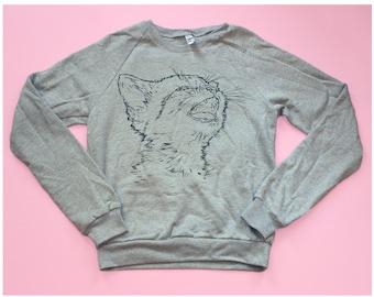 Kitty Cat Grey Screenprinted Sweatshirt