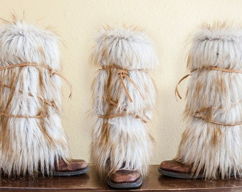 Gold Tipped Faux Fur Boot Covers