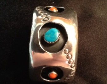 Vintage Navajo Silver Bracelet <> Wide Shadowbox Design 85 Grams <> Native American  <> Turquoise & Coral <> 1960's <> FREE SHIPPING