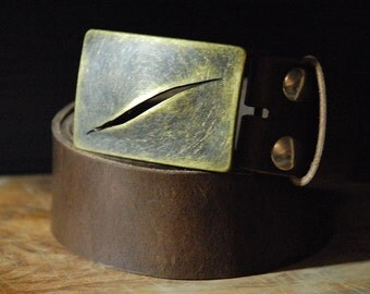 Men's Leather Belt - Brass Belt Buckle Gash - Color Size