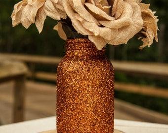 Copper Glitter mason jar