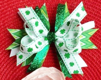 St. Patrick's Day Shamrock Spike Boutique Hair Bow