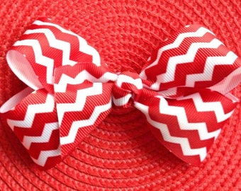 Red Chevron Twisted Boutique Hair Bow - Purple Chevron Twisted Boutique Hair Bow