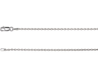 14K Solid White Gold 1.5 mm Cable Necklace Chain Lobster Clasp 24 inches CKLCH1019.1004.P