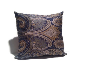 Decorative Blue Toss Pillow- Designer fabric blue cotton handmade couch pillow stripes