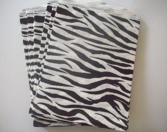 "50 - 8.5""x11""Zebra Print Merchandise Flat Bags"