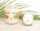 Coastal Scented Candles Embellished with Starfish/ Sand dollar