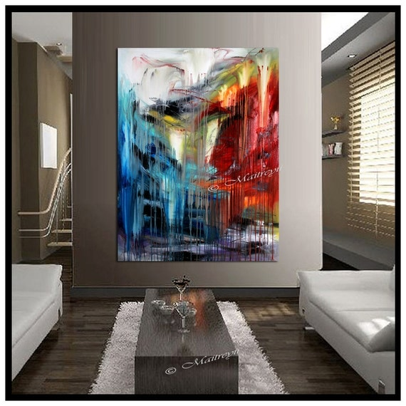 Large Painting Original Paintings Red Blue By Largeartwork