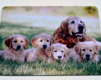 Cute Golden Retriever Family and Puppy  Mousepad / Mouse Mat
