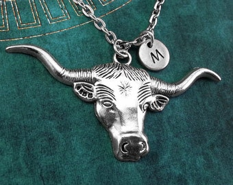 Bull Head Necklace, LARGE Personalized Necklace, Bull Head Pendant, Custom Necklace, Monogram Necklace, Bull Head Charm, Cowboy Necklace