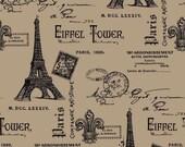 Burlap Fabric-By The Yard-Natural-Printed Burlap-Paris Eiffel Tower-Pillow Fabric