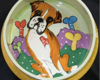 Hand Painted Ceramic Boxer Dog Bowl