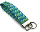 Soft key fob in blue chevron cotton, fabric key holder, key fob, fabric key fob, gift for her