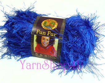 FUN FUR Yarn SAPPHIRE Lion Brand eyelash yarn novelty yarn blue yarn knit, crochet furry yarn scarf yarn fuzzy scarf blue yarn fluffy yarn
