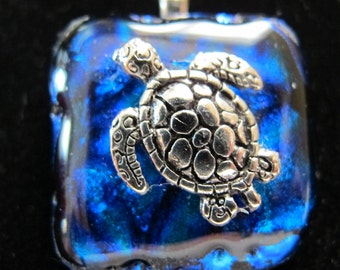 Turtle on dichroic fused glass necklace