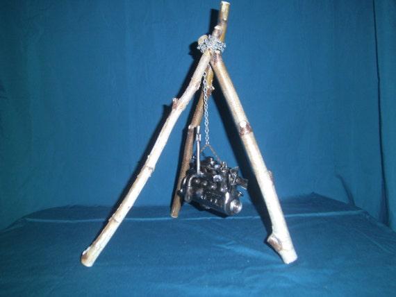 Tripod Crane Hoist : Items similar to engine hanging from tripod log hoist