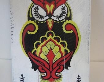 Sleeping Owl Wood Painting