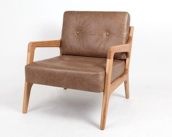 Oak and leather lounge chair