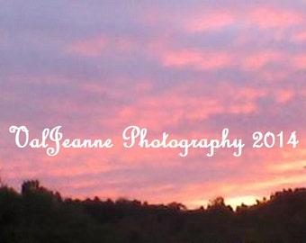 Nature Photography Sunset Pink Blue  Evening Sky Fine Art Photograph Print