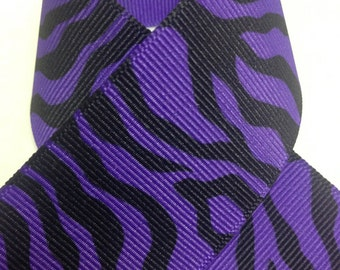 "1.5"" Animal Print - Purple Zebra - Offray Grosgrain Ribbon - Purple and Black Stripes -"