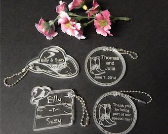 25 Western Theme  Wedding Key Chain Favors -Bridal Favors -Wedding Favors -Engraved Favors - Etched Favors - Custom Wedding Favors - Choice