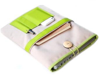 "Canvas Notebooktasche13 ""+ leather specialist SandLime"