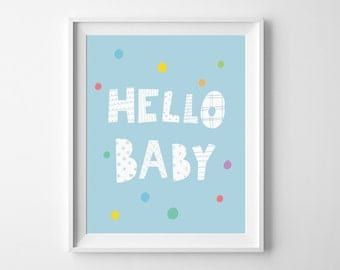 Blue nursery decor, kids wall art, Hello Baby Print, digital print, nursery wall art printable decor, blue room decor, playroom decor