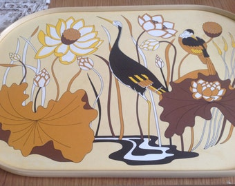 Vintage Kitchen Tray Melamine Birds  Camping  Vintage Camping