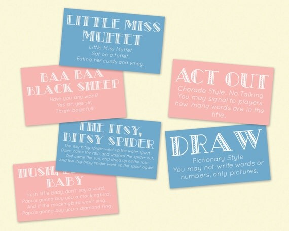 printable baby shower game nursery rhyme guessing game pictionary