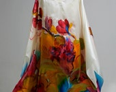Plus size Hand Painted Natural Silk dress, Floral dress.MADE TO ORDER.