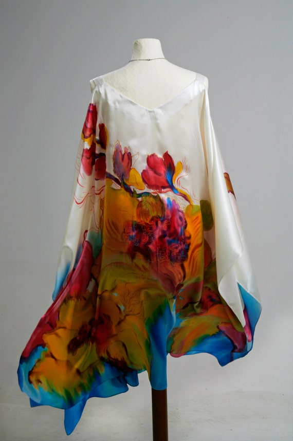 Plus Size Hand Painted Natural Silk Dress Floral Dress Made