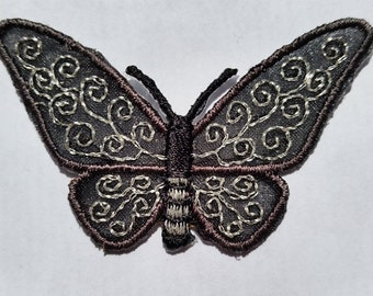 Butterfly Black Silver Animal Fly applique iron on patch