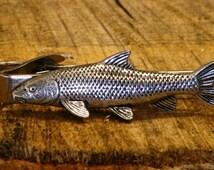Fish Tie Clip Tack Slide UK Pewter Fishing Gift
