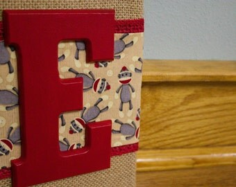 Sock Monkey Burlap Art