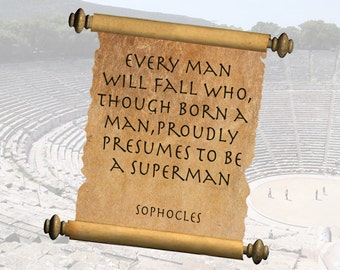 "Sophocles Ancient Greek wisdom & sayings ""Superman"" A5 canvas paper art Print"
