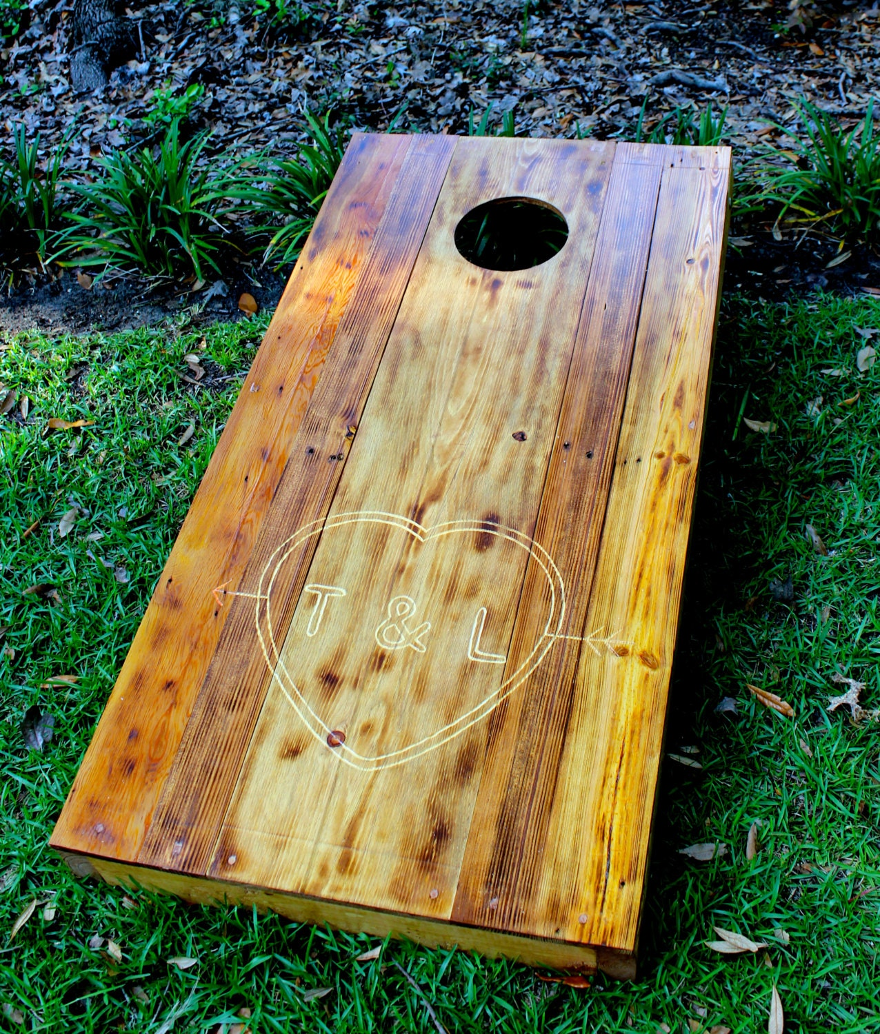 Custom engraved planked cornhole boards reclaimed corn hole for Recycled wood board