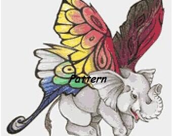 Fairy Elephant. Cross Stitch Pattern. PDF Files.