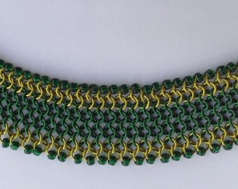 Wide Green Chainmaille Bracelet