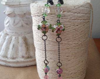 stunning vintage crystal, chain, venetian glass and cloisonne bead drop earrings