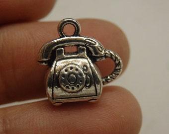 10 telephone charm european beads pendant tibetan silver antique silver 3D wholesale